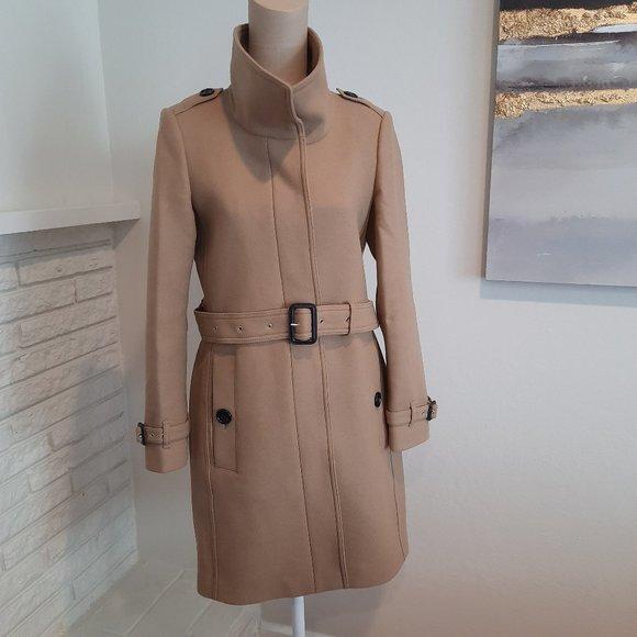 Burberry Gibbsmoore Funnel Collar Wool Coat Camel